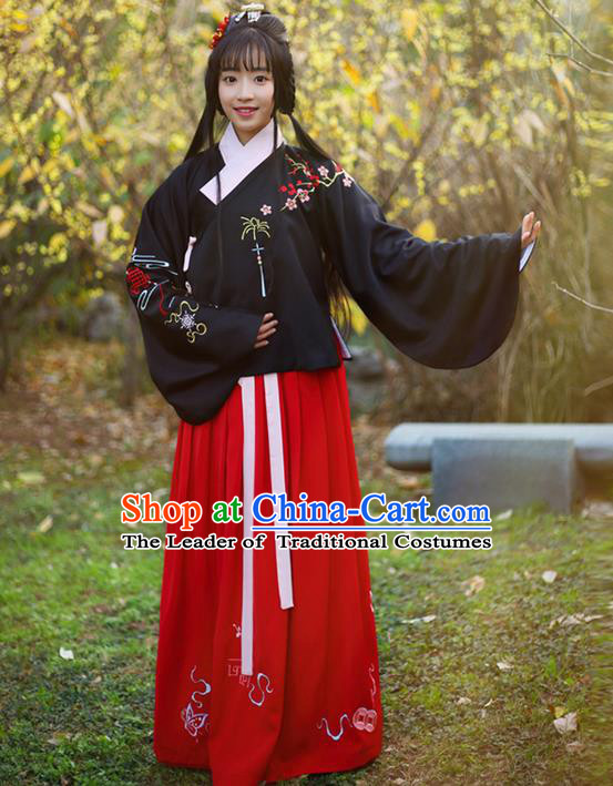 Traditional Ancient Chinese Female Costume Blouse and Dress Complete Set, Elegant Hanfu Clothing Chinese Ming Dynasty Palace Lady Embroidered Plum Blossom Clothing for Women