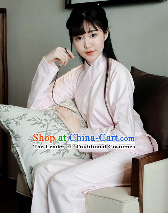 Traditional Ancient Chinese Female Costume Blouse and Dress and Pants Underpants Complete Set, Elegant Hanfu Underpants Clothing Chinese Ming Dynasty Palace Lady Clothing for Women
