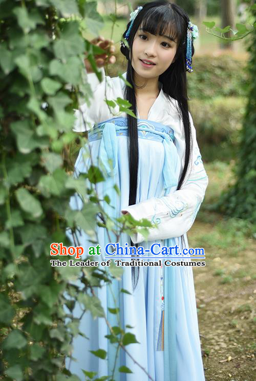 Traditional Ancient Chinese Female Costume Blouse and Dress Complete Set, Elegant Hanfu Clothing Chinese Ming Dynasty Palace Lady Embroidered Chamaecyparis Pisifera Clothing for Women