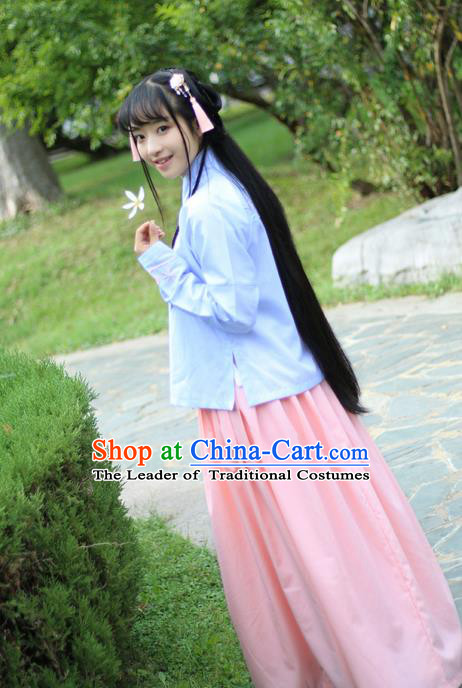 Traditional Ancient Chinese Female Costume Blouse and Skirt Complete Set, Elegant Hanfu Clothing Chinese Ming Dynasty Palace Lady Embroidered Lantern Clothing for Women