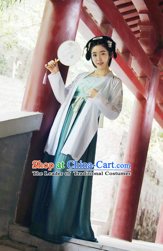 Traditional Ancient Chinese Female Costume Cardigan and Dress Complete Set, Elegant Hanfu Clothing Chinese Ming Dynasty Palace Lady Embroidered Wisteria Clothing for Women