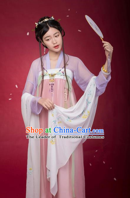 Traditional Ancient Chinese Female Costume Blouse and Dress Complete Set, Elegant Hanfu Clothing Chinese Ming Dynasty Palace Lady Embroidered Orchid Clothing for Women