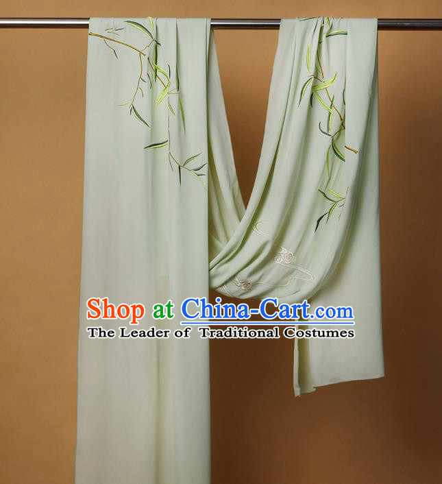 Traditional Ancient Chinese Female Costume Cardigan Wide Cappa, Elegant Hanfu Brocade Scarf Chinese Ming Dynasty Palace Lady Embroidered Bamboo Wearing Silks Clothing for Women