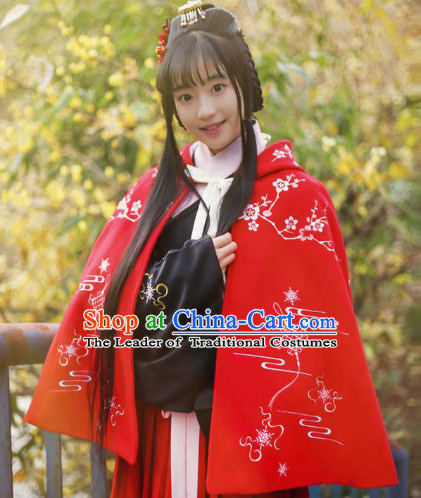 Traditional Ancient Chinese Female Costume Woolen Cardigan, Elegant Hanfu Short Cloak Chinese Ming Dynasty Palace Lady Embroidered Plum Blossom Hooded Red Cape Clothing for Women
