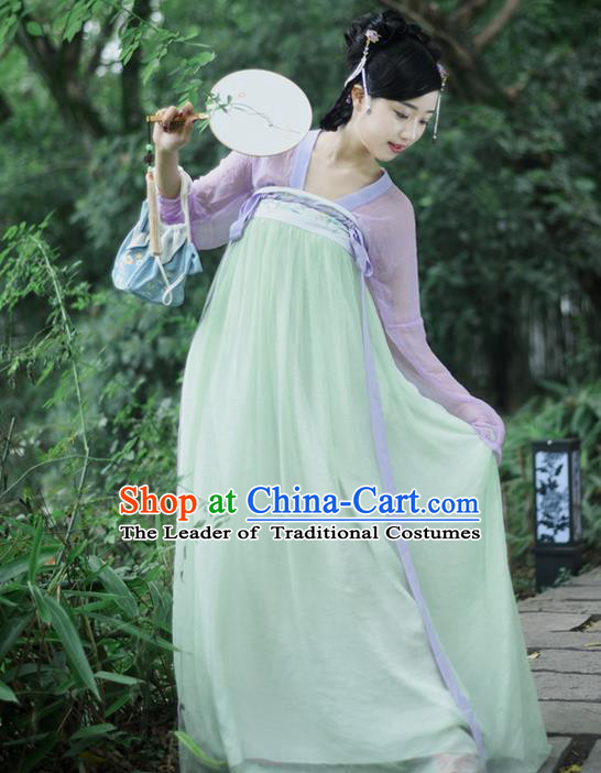 Traditional Ancient Chinese Female Costume, Elegant Hanfu Dress Chinese Ming Dynasty Palace Lady Embroidered Lotus Skirt for Women