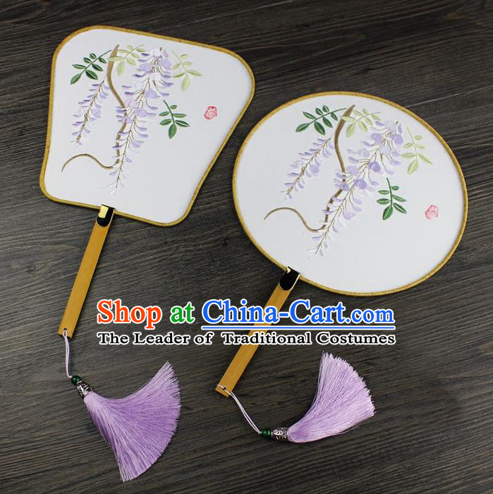 Traditional Ancient Chinese Palace Lady Embroidered Wisteria Dance Fans for Women