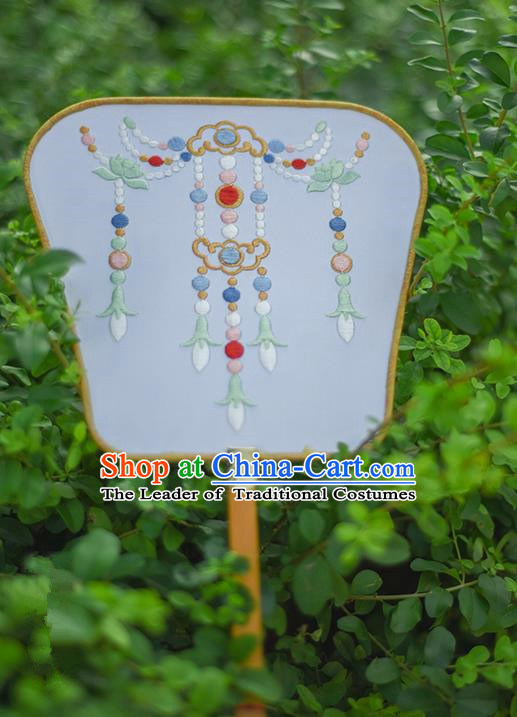Traditional Ancient Chinese Palace Lady Embroidered Jasmine Flower Dance Fans for Women