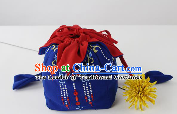 Traditional Ancient Chinese Embroidered Handbags Embroidered Stupa Wreaths All Lines Navy Bag for Women