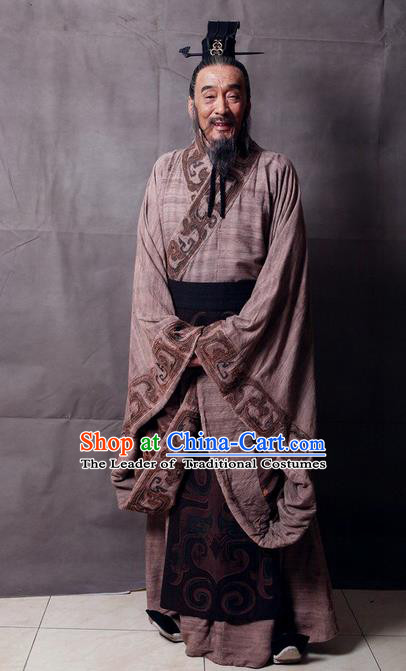 Traditional Ancient Chinese Imperial Minister Costume and Hat Complete Set, Elegant Hanfu Orphrey Dress Chinese Qin Dynasty Imperial Courtiers Embroidered Robes for Men
