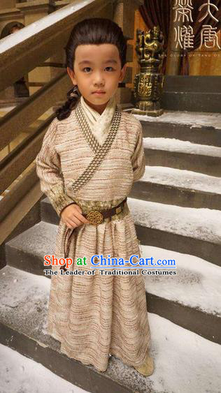 Traditional Ancient Chinese National Minority Nobility Little Childe Costume, Elegant Hanfu Children Dress, Chinese Tang Dynasty Imperial Prince Embroidered Robes for Kids