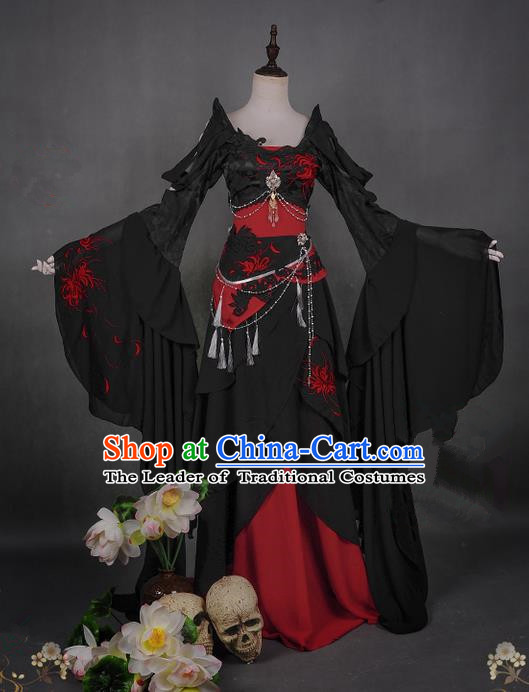 Traditional Asian Chinese Swordman Imperial Consort Costume, Elegant Hanfu Clothing Chinese Imperial Princess Tailing Embroidered Clothing, Chinese Fairy Princess Empress Queen Cosplay Costumes for Women