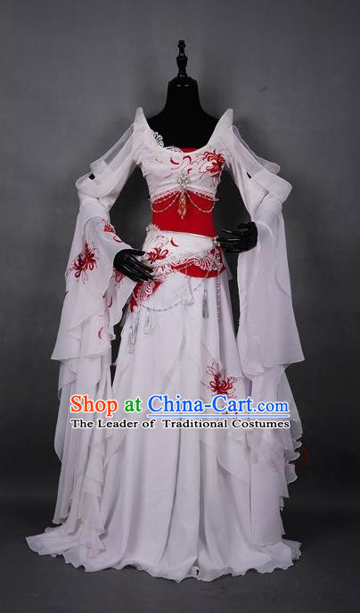 Traditional Asian Chinese Swordman Costume, Elegant Hanfu Dance Water Sleeves Clothing, Chinese Imperial Princess Tailing Embroidered Clothing, Chinese Fairy Princess Empress Queen Cosplay Costumes for Women