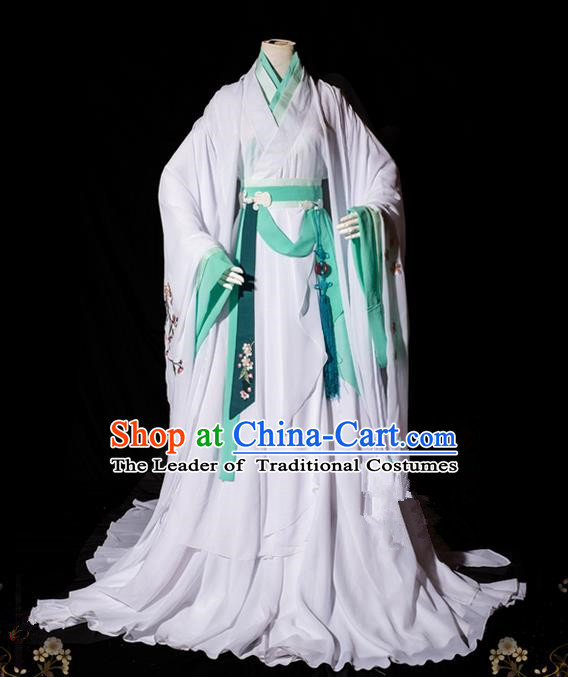 Traditional Asian Chinese Ancient Princess Costume, Elegant Hanfu Wide Sleeves Clothing, Chinese Imperial Princess Tailing Embroidered Peach Blossom Clothing, Chinese Fairy Princess Empress Queen Cosplay Costumes for Women