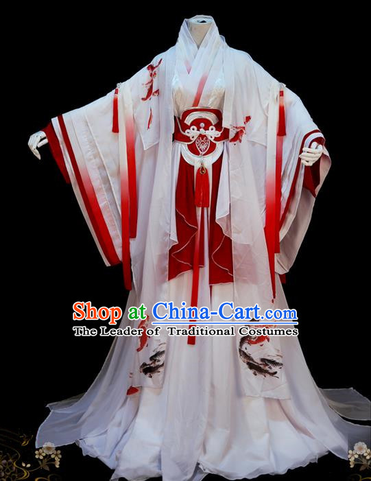 Traditional Asian Chinese Princess Costume, Elegant Hanfu Dance Wide Sleeves Dress, Chinese Imperial Princess Tailing Printing Fancy Carp Clothing, Chinese Cosplay Fairy Princess Empress Queen Cosplay Costumes for Women