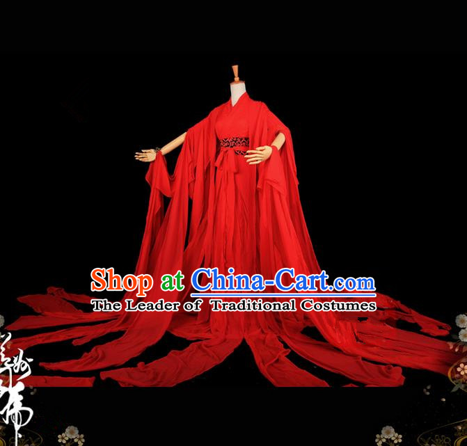 Traditional Asian Chinese Princess Costume, Elegant Hanfu Water Sleeve Dance Dress, Chinese Imperial Princess Tailing Embroidered Red Clothing, Chinese Cosplay Fairy Princess Empress Queen Cosplay Costumes for Women