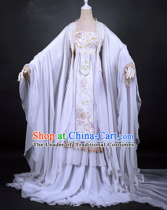 Traditional Asian Chinese Ancient Palace Princess Costume, Elegant Hanfu Dress, Chinese Imperial Princess Tailing Embroidered Epiphyllum Clothing, Chinese Cosplay Fairy Princess Empress Queen Cosplay Costumes for Women