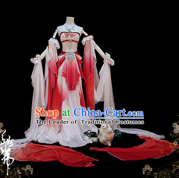 Traditional Asian Chinese Dunhuang Flying Apsaras Costume, Elegant Hanfu Dance Water Sleeves Dress, Chinese Imperial Princess Tailing Clothing, Chinese Cosplay Fairy Princess Empress Queen Cosplay Costumes for Women