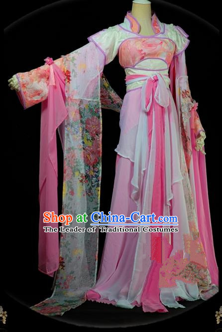 Traditional Asian Chinese Ancient Palace Princess Costume, Elegant Hanfu Pink Dress, Chinese Imperial Princess Tailing Embroidered Clothing, Chinese Cosplay Fairy Princess Empress Queen Cosplay Costumes for Women