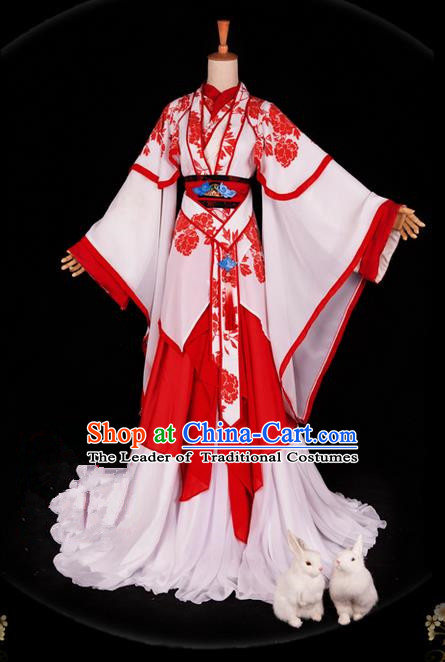 Traditional Ancient Chinese Imperial Consort Costume, Elegant Hanfu Ink Painting Dress Chinese Tang Dynasty Imperial Empress Printing Flowers Tailing Clothing for Women