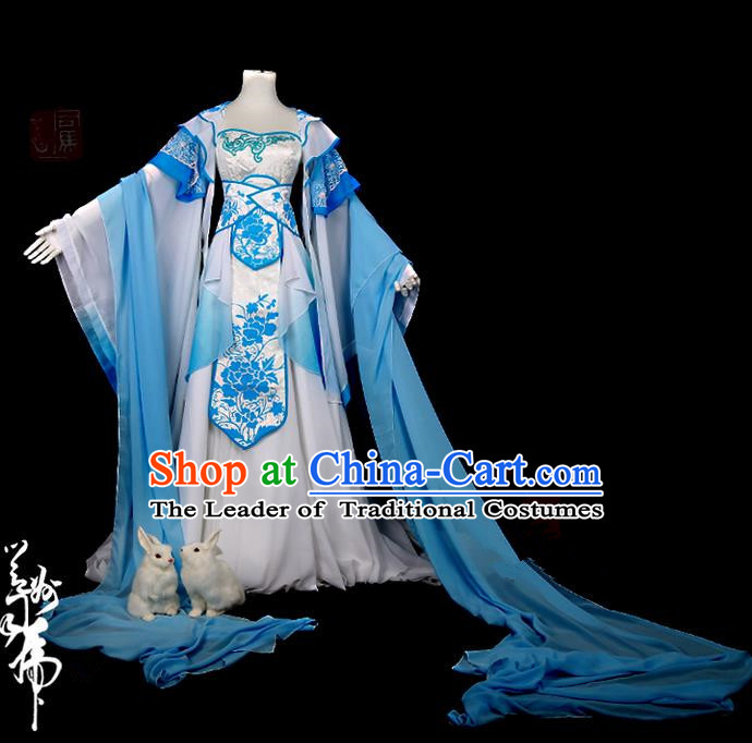 Traditional Ancient Chinese Swordsman Costume, Elegant Hanfu Cosplay Fairy Blue Water Sleeve Dress Chinese Han Dynasty Imperial Empress Embroidered Tailing Clothing for Women
