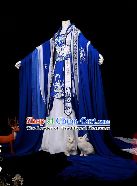 Traditional Ancient Chinese Swordsman Costume, Elegant Hanfu Cosplay Fairy Deep Blue Wide Sleeve Dress Chinese Han Dynasty Imperial Empress Printing Phoenix Tailing Clothing for Women