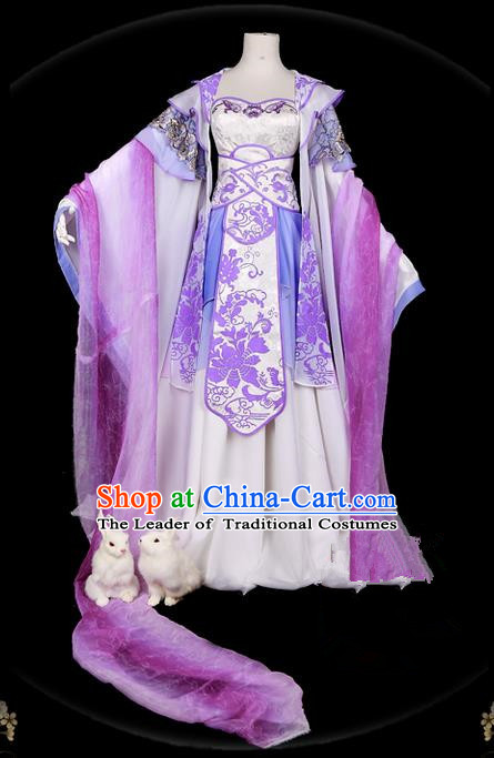 Traditional Ancient Chinese Swordsman Costume, Elegant Hanfu Cosplay Fairy Purple Wide Sleeve Dress Chinese Han Dynasty Imperial Empress Embroidery Tailing Clothing for Women