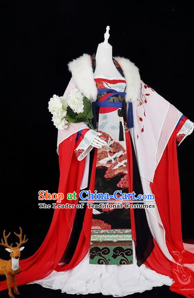 Traditional Ancient Chinese Palace Queen Costume, Elegant Hanfu Cosplay Fairy Wide Sleeve Dress Chinese Tang Dynasty Imperial Empress Embroidery Crane Leaves Tailing Clothing for Women