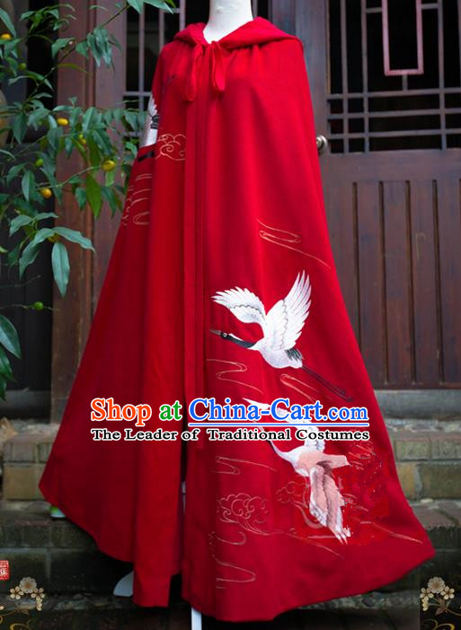 Traditional Asian Chinese Ancient Princess Red Cloak Costume, Elegant Hanfu Mantle Clothing, Chinese Imperial Princess Embroidered Crane Hooded Cape Costumes for Women