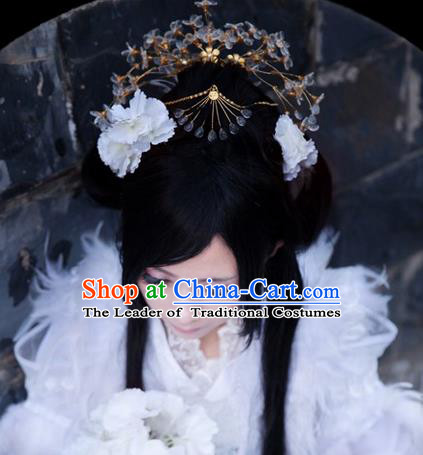 Traditional Handmade Chinese Ancient Classical Hair Accessories Crystal Crown, Imperial Emperess Headdress Hair Jewellery, Hair Fascinators Hairpins for Women
