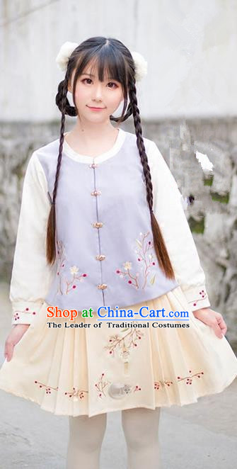 Traditional Ancient Chinese Female Costume Woolen Coat and Skirt Complete Set, Elegant Hanfu Lilac Clothing Chinese Ming Dynasty Palace Lady Embroidered Clothing for Women