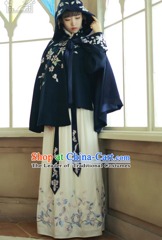 Traditional Asian Chinese Ancient Princess Woolen Navy Cloak Costume, Elegant Hanfu Mantle Clothing, Chinese Imperial Princess Embroidered Hooded Cape Costumes for Women