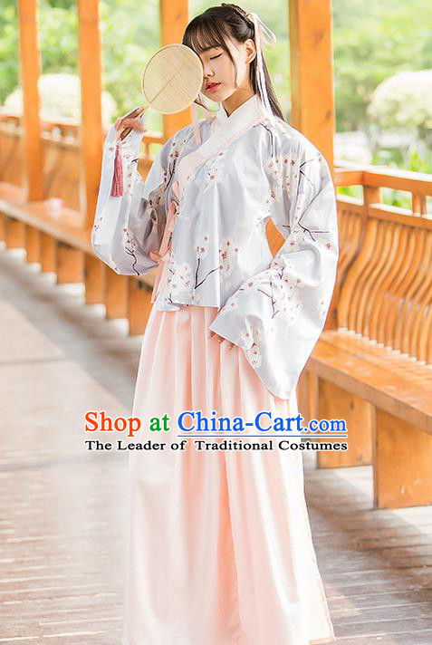 Traditional Ancient Chinese Female Costume Blouse and Dress Complete Set, Elegant Hanfu Clothing Chinese Ming Dynasty Palace Lady Embroidered Pear Flower Clothing for Women