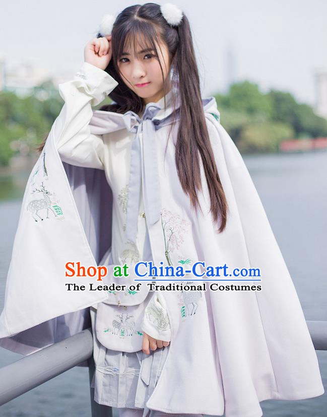 Traditional Asian Chinese Ancient Princess Woolen Pink Cloak Costume, Elegant Hanfu Mantle Clothing, Chinese Imperial Princess Embroidered Deer Hooded Cape Costumes for Women