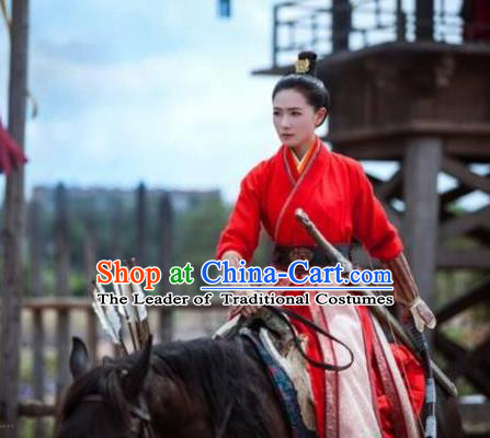Traditional Ancient Chinese Female Costume Swordsman Uniform Complete Set, Chinese Tang Dynasty General Clothing for Women