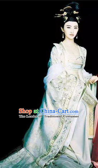 Traditional Ancient Chinese Imperial Queen Costume, Elegant Hanfu Palace Lady Dress, Chinese Tang Dynasty Imperial Empress Tailing Embroidered Clothing for Women