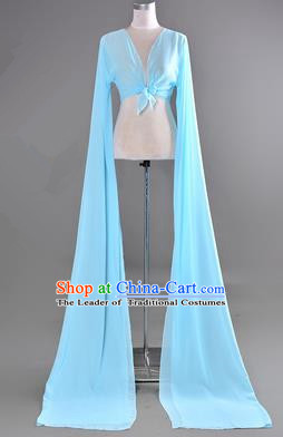 Traditional Chinese Long Sleeve Water Sleeve Dance Suit China Folk Dance Chiffon Long Blue Ribbon for Women