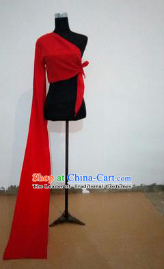 Traditional Chinese Long Sleeve Single Water Sleeve Dance Suit China Folk Dance Koshibo Long Red Ribbon for Women