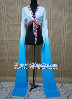 Traditional Chinese Long Sleeve Tibetan Nationality Water Sleeve Dance Suit China Folk Dance Koshibo Long White and Blue Gradient Ribbon for Women
