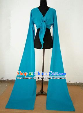 Traditional Chinese Long Sleeve Wide Water Sleeve Dance Suit China Folk Dance Koshibo Long Blue Ribbon for Women