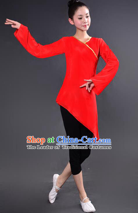 Traditional Chinese Yangge Fan Dancing Costume, China Folk Dance Yangko Dance Red Dress For Women