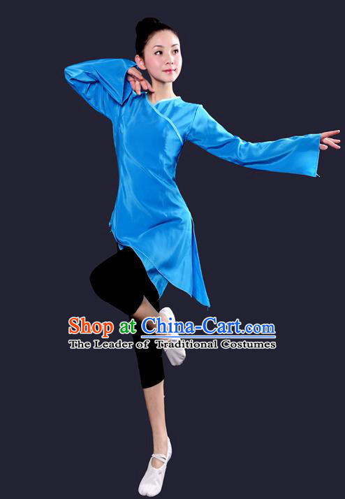Traditional Chinese Yangge Fan Dancing Costume, China Folk Dance Yangko Dance Blue Dress For Women