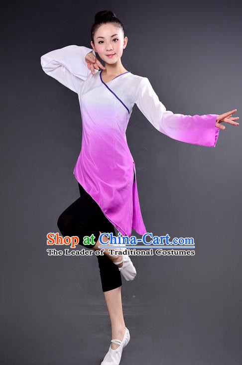 Traditional Chinese Yangge Fan Dancing Costume, China Folk Dance Yangko Dance Lilac Dress For Women