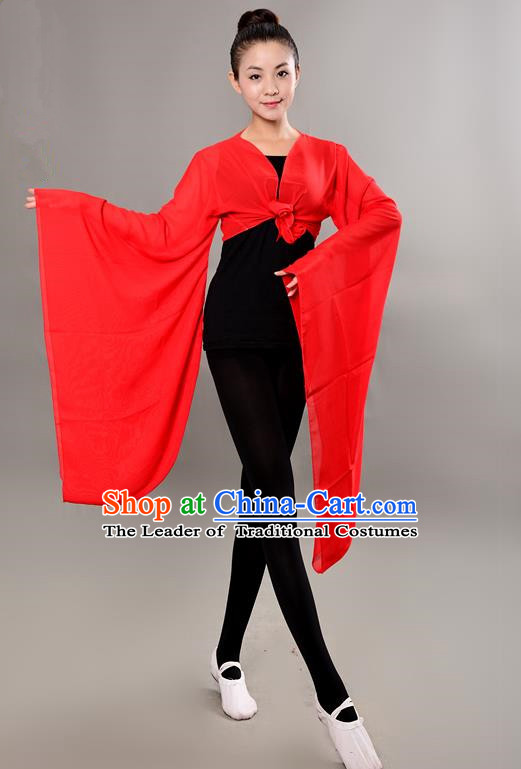 Traditional Chinese Wide Sleeve Water Sleeve Dance Suit China Folk Dance Chiffon Red Blouse for Women