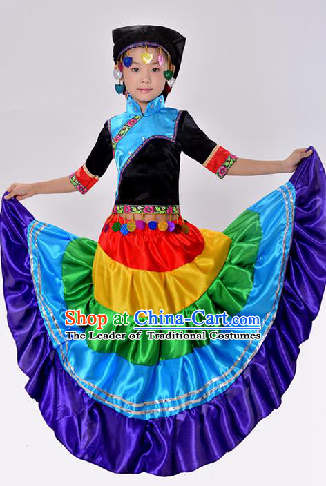 Traditional Chinese Yi Nationality Dancing Costume, Torch Festival Folk Dance Ethnic Pleated Skirt, Chinese Minority Nationality Costume for Kids