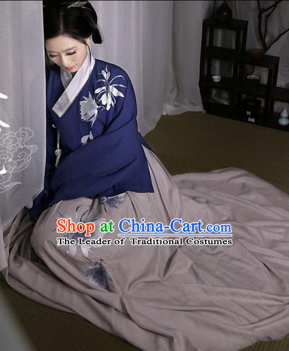 Traditional Ancient Chinese Female Costume Navy Blouse and Dress Complete Set, Elegant Hanfu Clothing Chinese Ming Dynasty Palace Princess Embroidered Epiphyllum Clothing for Women