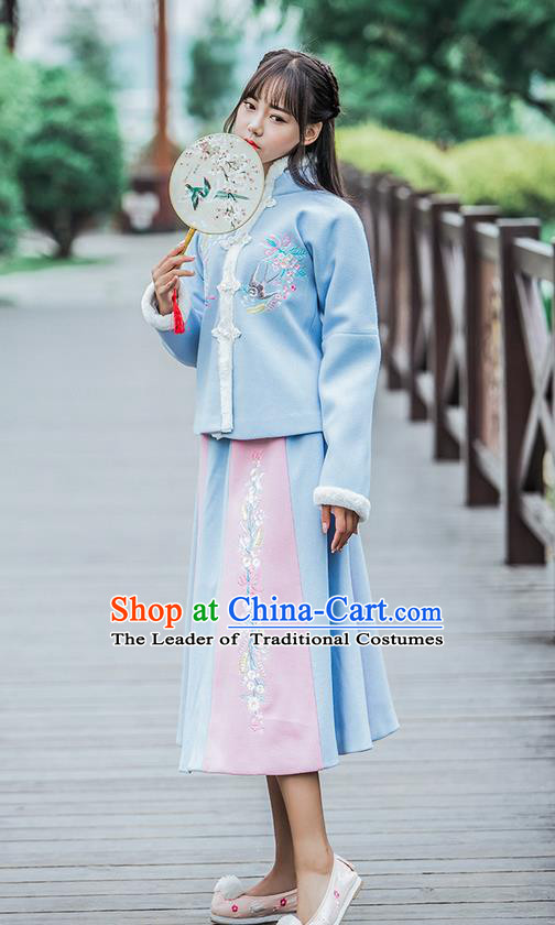 Traditional Ancient Chinese Female Costume Woolen Blue Blouse and Dress Complete Set, Elegant Hanfu Clothing Chinese Ming Dynasty Palace Princess Embroidered Swallow Clothing for Women