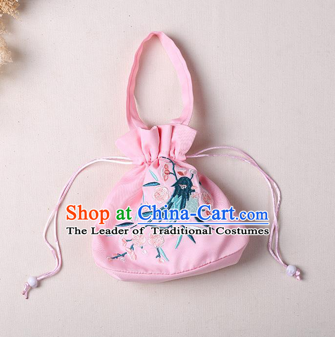 Traditional Ancient Chinese Embroidered Handbags Embroidered Bird Flowers Round Pink Bag for Women