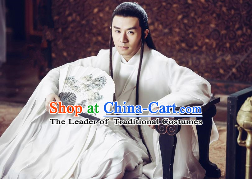 Traditional Ancient Chinese Imperial Prince Costume Complete Set, Elegant Hanfu Nobility Childe Robe, Chinese Cosplay Teleplay Ten great III of peach blossom Role Crown Prince Clothing for Men