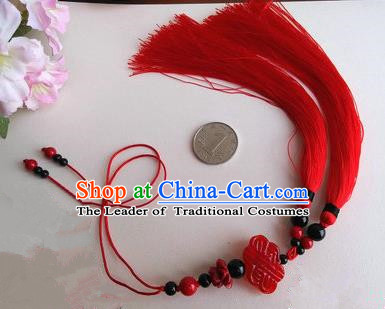 Traditional Chinese Handmade Ancient Hanfu Jade Wearing Violet Agate Chinese Knot Pendant Sword Red Tassel for Men