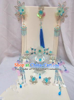 Traditional Handmade Chinese Ancient Classical Blue Hair Accessories Complete Set, Hair Sticks Butterfly Hair Jewellery, Hair Fascinators Hairpins for Women